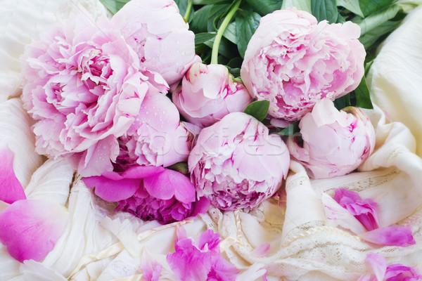 pink peonies and white wedding dress Stock photo © neirfy