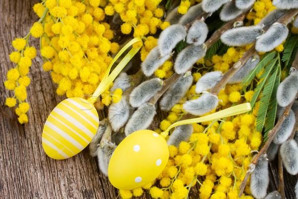 Stok fotoğraf: Fransız · paskalya · yumurtası · taze · ahşap · masa · bahar · ahşap