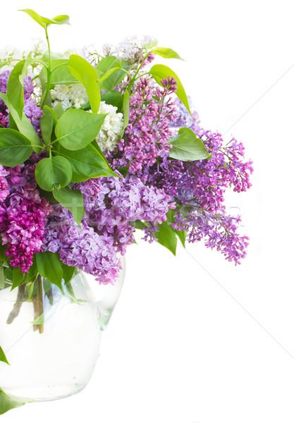 Orgona váza köteg virágok üveg közelkép Stock fotó © neirfy