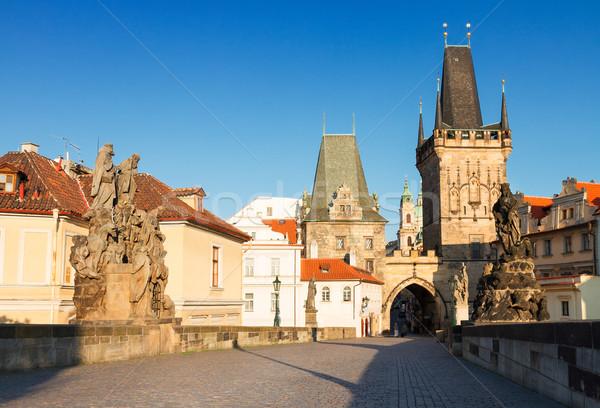 Gate tower and Charles bridge, Prague Stock photo © neirfy