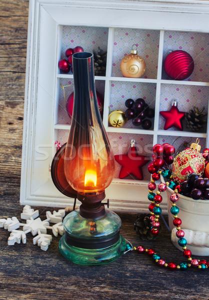 Zdjęcia stock: Vintage · latarnia · christmas · wieniec · dekoracje