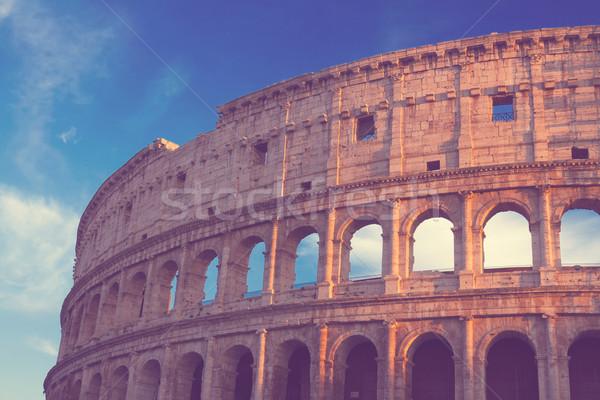 Colosseo tramonto Roma Italia rovine retro Foto d'archivio © neirfy