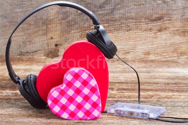 Foto stock: Romántica · música · dos · rosa · rojo · corazones