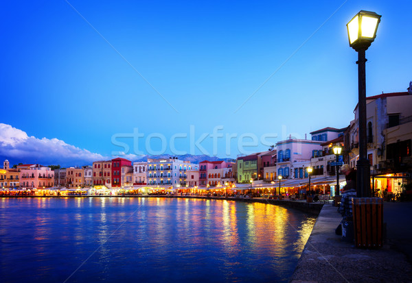 Velencei Görögország vízpart tenger éjszaka égbolt Stock fotó © neirfy