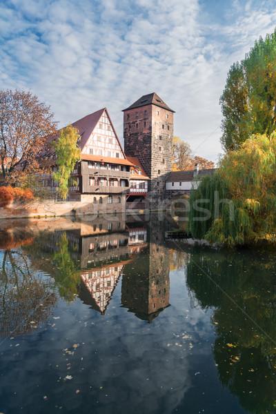 óváros Németország házak égbolt épület tájkép Stock fotó © neirfy