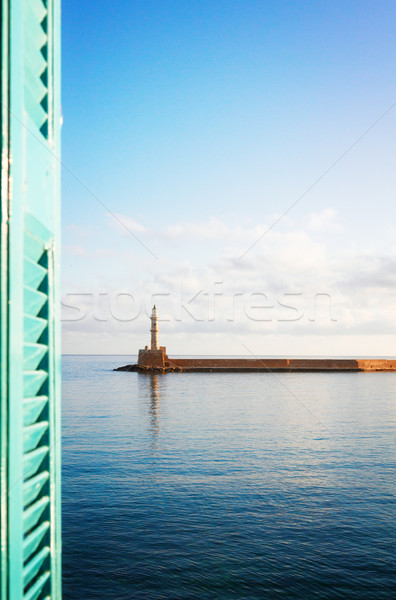 Grecia finestra blu retro cielo Foto d'archivio © neirfy
