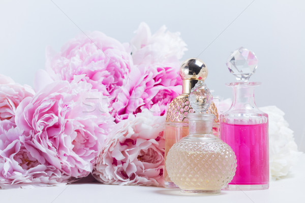 Stockfoto: Essence · roze · olie · water · glas · vers
