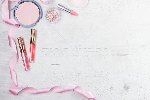 Smink szépségipari termékek profi jelenet fehér virágok Stock fotó © neirfy