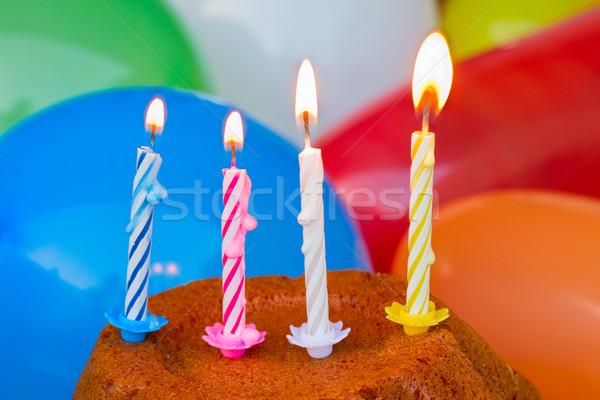 Bougies d'anniversaire coloré fête vert amusement bougie Photo stock © neirfy