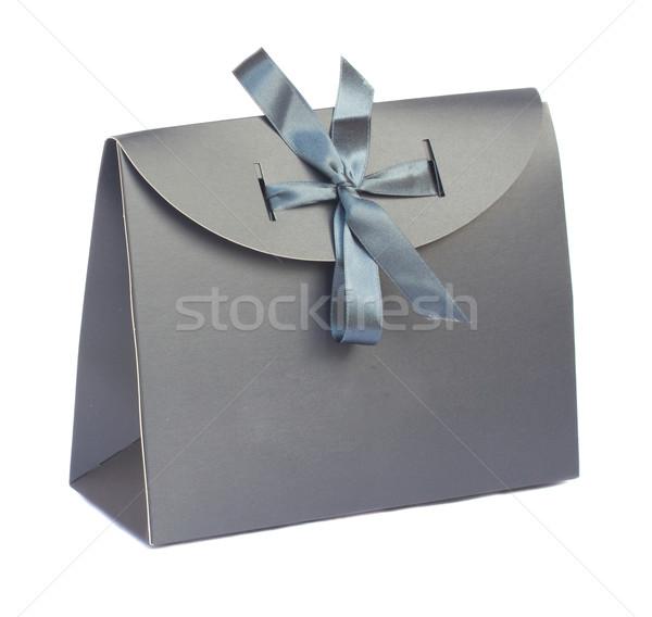 Stok fotoğraf: Gri · hediye · çanta · şerit · yalıtılmış · kâğıt
