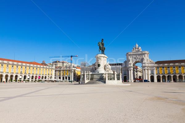 Comercio cuadrados Lisboa Portugal paisaje azul Foto stock © neirfy