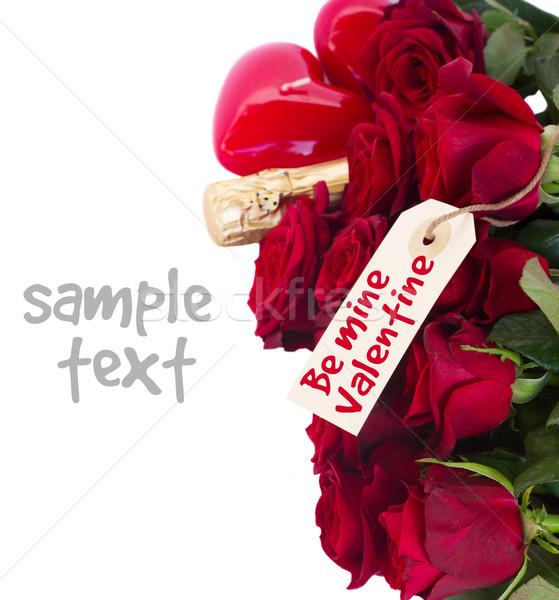 Stock fotó: Valentin · nap · sötét · vörös · rózsák · nyak · pezsgő · izolált