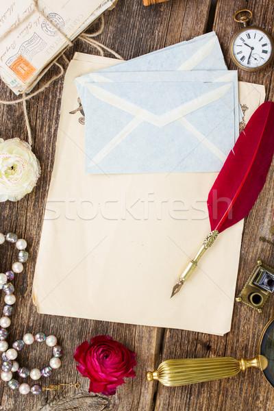 Pena caneta velho documentos cópia espaço Foto stock © neirfy