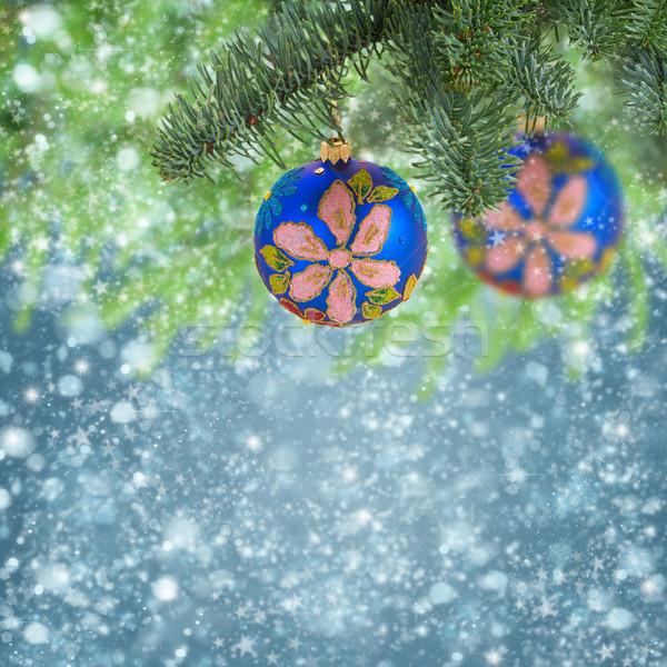 Noel top asılı yaprak dökmeyen ağaç mavi Stok fotoğraf © neirfy