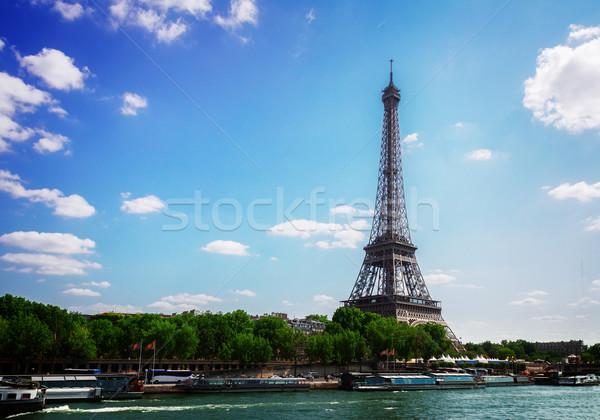 Eiffel turné folyó Párizs Franciaország retro Stock fotó © neirfy