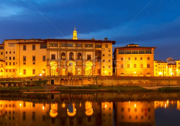 Stock fotó: Múzeum · Florence · Olaszország · világ · híres · éjszaka