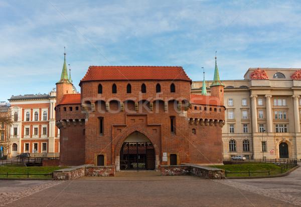Oude krakow Polen baksteen middeleeuwse hemel Stockfoto © neirfy