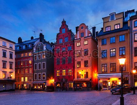 Gece Stockholm kare evler İsveç yol Stok fotoğraf © neirfy