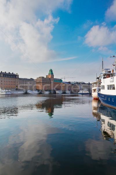 Ufuk çizgisi Stockholm İsveç manzaralı gökyüzü Stok fotoğraf © neirfy