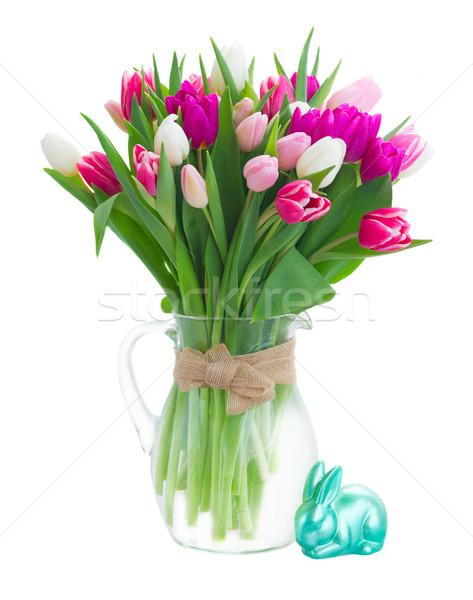 Bukiet różowy fioletowy biały tulipany Zdjęcia stock © neirfy