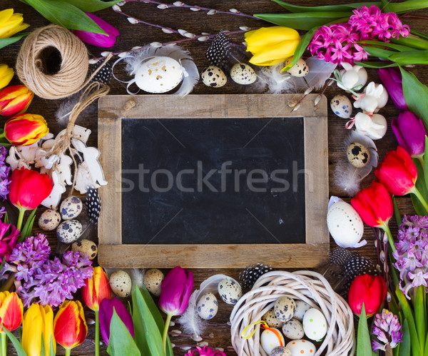 Stockfoto: Lentebloemen · paaseieren · voorjaar · Pasen · frame · vers