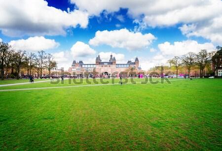 Heykel Amsterdam bahar yeşil çim Stok fotoğraf © neirfy
