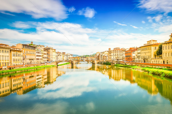 Floransa İtalya ünlü köprüler nehir yaz Stok fotoğraf © neirfy