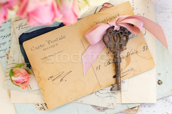 antique mail and key Stock photo © neirfy
