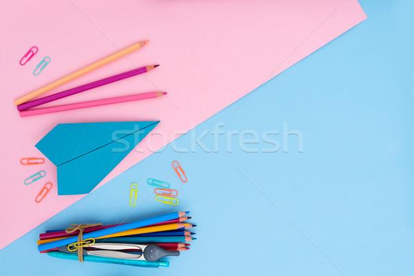 Okula geri sahne okul malzemeleri pembe mavi ofis Stok fotoğraf © neirfy