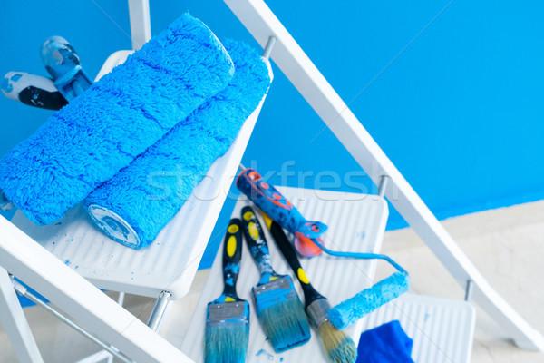 Ház rendbehoz szerszámok fehér létra kék Stock fotó © neirfy