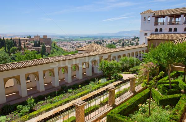 Generalife  garden and city of Granada, Spain Stock photo © neirfy