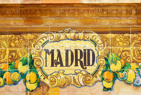 Madrid sign over a mosaic wall Stock photo © neirfy