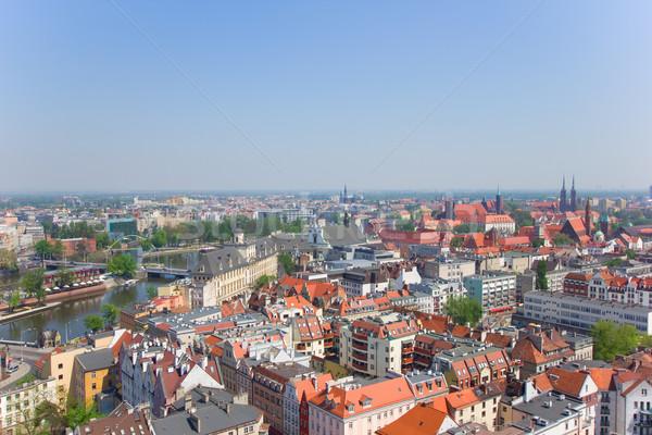 Città vecchia sopra Polonia acqua costruzione città Foto d'archivio © neirfy
