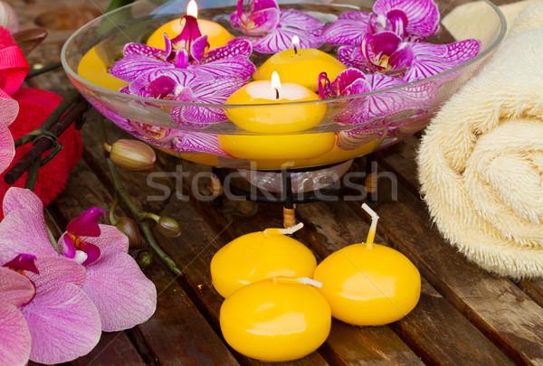 Foto stock: Velas · flores · toalla · spa · primavera · relajarse