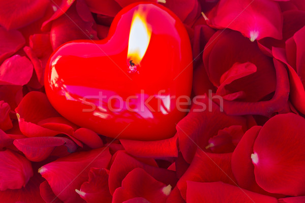 燃焼 キャンドル バラの花びら 中心 赤いバラ 花弁 ストックフォト © neirfy