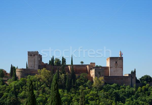Fortaleza alhambra España cielo árbol construcción Foto stock © neirfy