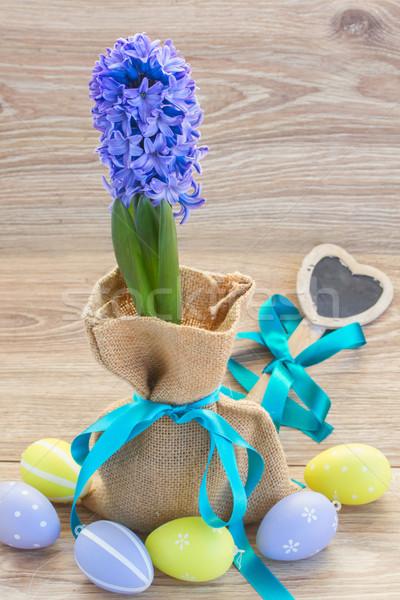 青 ヒヤシンス 花 イースターエッグ 木製のテーブル 花 ストックフォト © neirfy