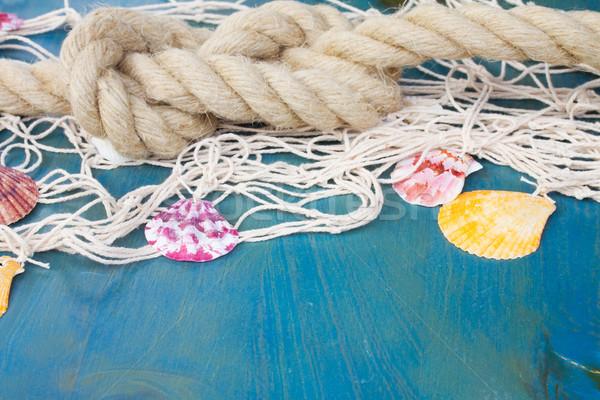Ahşap deniz kabukları mavi bo Stok fotoğraf © neirfy