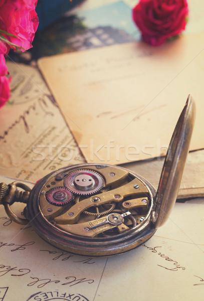 retro concept with antique clock Stock photo © neirfy