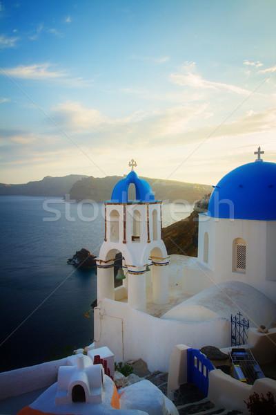 Foto stock: Tradicional · griego · pueblo · santorini · azul · iglesias