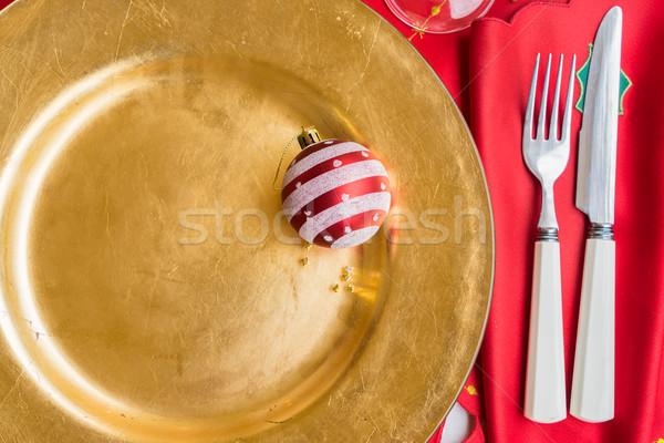 Christmas golden plate Stock photo © neirfy