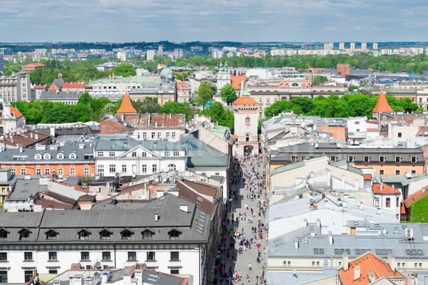 Cityscape cracovia città vecchia noto strada cielo Foto d'archivio © neirfy