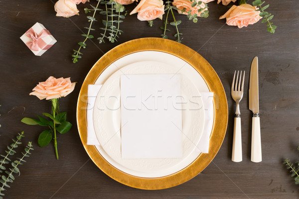 Tableware set on table Stock photo © neirfy