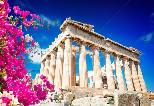 Partenón templo Atenas brillante cielo azul Acrópolis Foto stock © neirfy