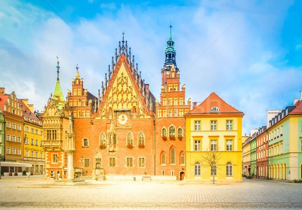 Prefeitura Polônia velho gótico edifício retro Foto stock © neirfy