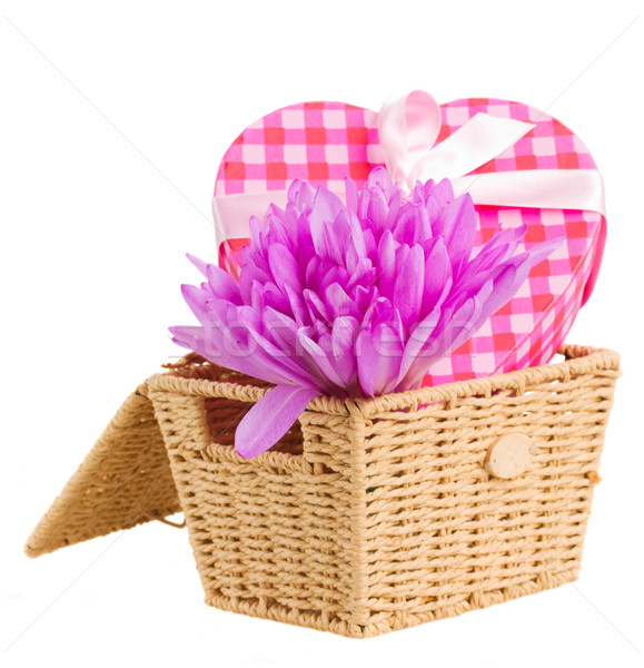 basket with crocus flowers  and gift box Stock photo © neirfy