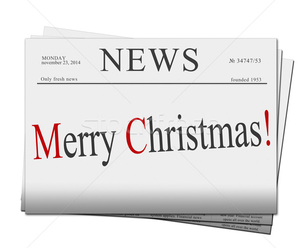 Merry Christmas  newspapers Stock photo © neirfy