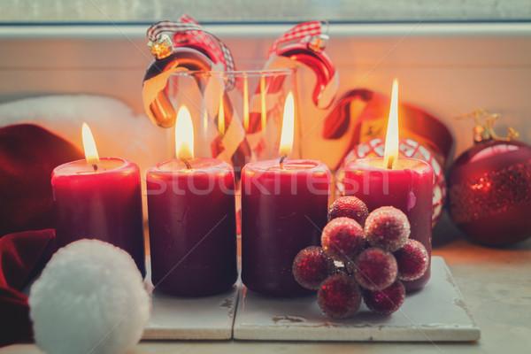 Christmas scène brandend licht Rood kaarsen Stockfoto © neirfy