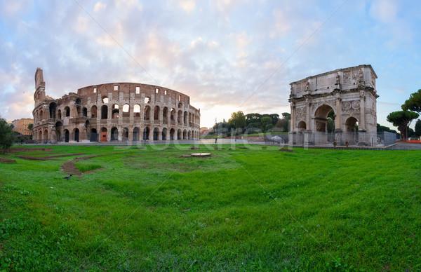Colosseum naplemente romok antik ív fények Stock fotó © neirfy