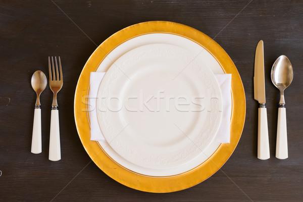 食器 セット 表 白 プレート ストックフォト © neirfy